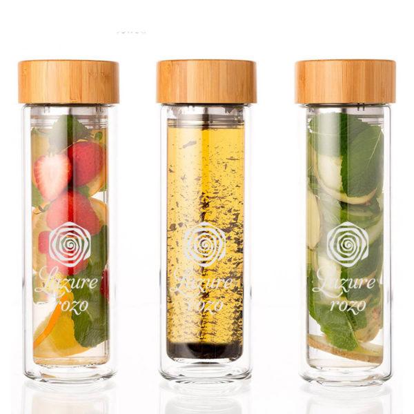 Szklana butelka termiczna na wodę z wkładem na owoce